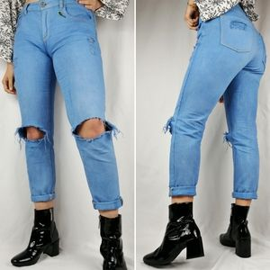 Boyfriend distressed custom blue jeans